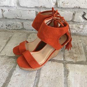 Orange Wedge Sandals